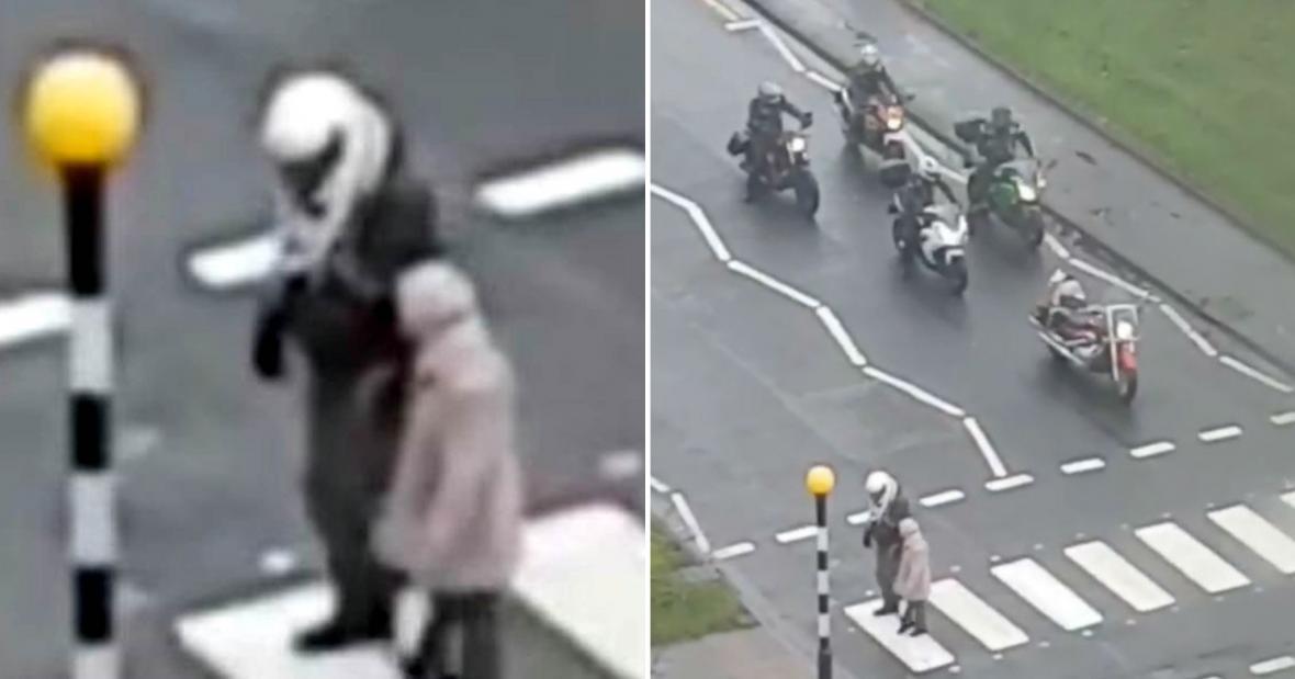 صحنه زیبایی که یک موتورسوار در خیابان خلق کرد!
